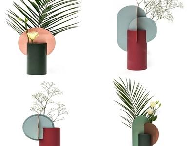 现代简约色块拼接花瓶组合3D模型【ID:633129576】