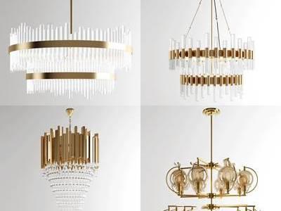 现代金属水晶吊灯组合3D模型