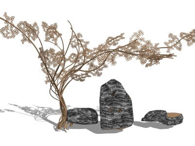 树雕塑石头组合SU模型SU模型下载【ID:630328692】