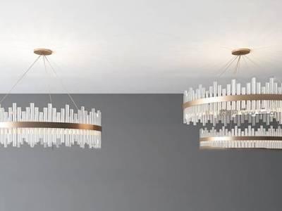 现代水晶吊灯组合3d模型【ID:56190183】