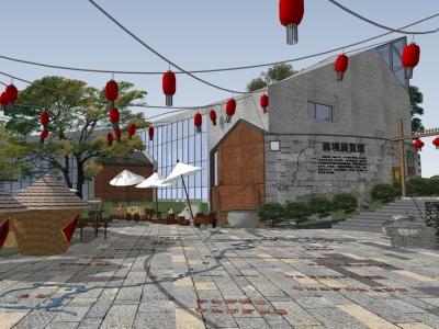 中式商业街SU模型