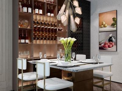 现代餐桌椅组合 现代桌椅组合 餐桌 餐椅 酒柜 挂画 吊灯 花艺