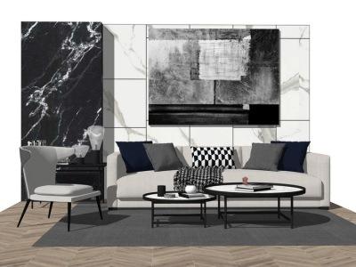 现代客厅沙发茶几组合SU模型SU模型下载【ID:726788678】
