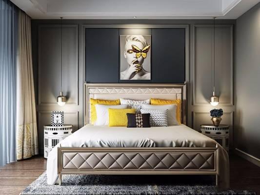 现代床具床头柜组合3d模型下载【ID:717916042】