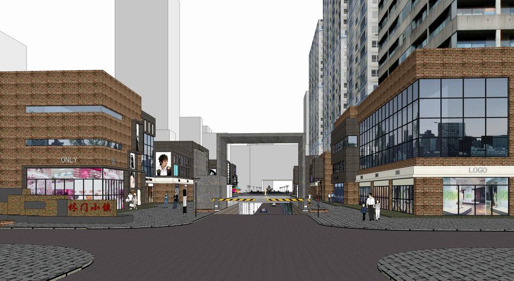 现代商业街改造设计SU模型SU模型下载【ID:321988993】