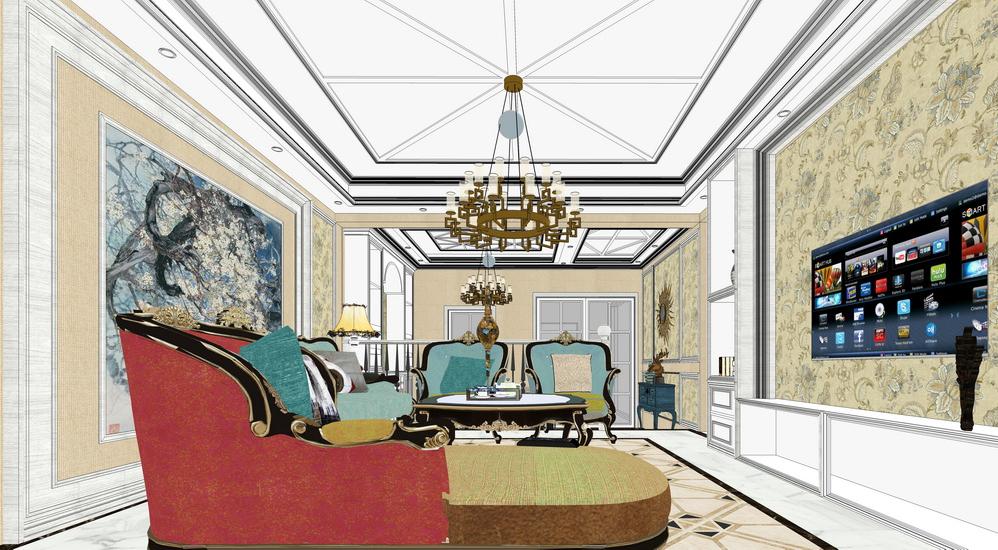 新古典客厅餐厅室内设计SU模型SU模型下载【ID:922001825】