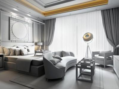 新中式别墅主卧室3d模型下载【ID:426534301】