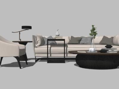 北欧现代风格组合沙发边几软装家具SU模型下载【ID:731972670】