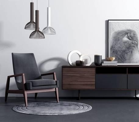 现代椅子电视柜3d模型下载【ID:25432641】
