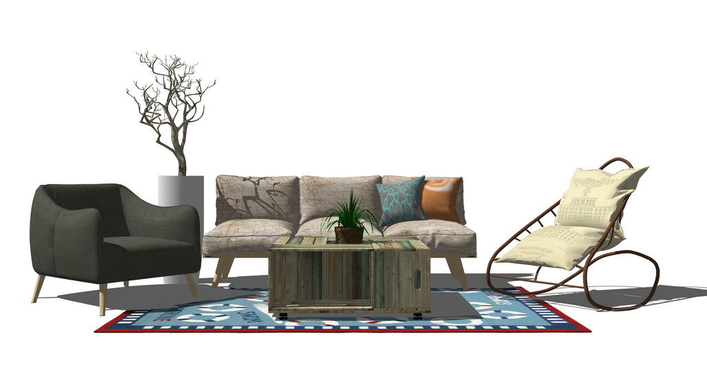现代风格客厅沙发茶几组合SU模型SU模型下载【ID:722238674】