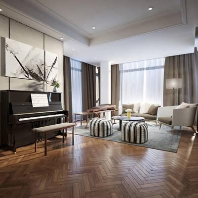 现代北欧客厅钢琴组合3D模型
