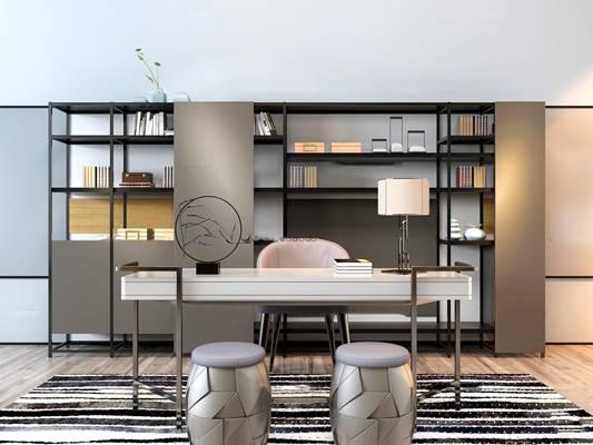 现代书桌椅凳子书柜组合3D模型