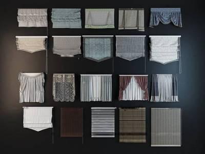 现代百叶帘拉帘窗帘组合3D模型