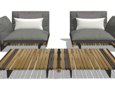 现代单人沙发茶几模型组合SU模型下载【ID:730042610】