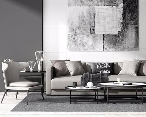 现代沙发组合 现代组合沙发 多人沙发 圆茶几 休闲椅 边几 挂画 台灯 地毯 摆件3D模型