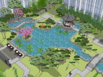 中式小区景观SU模型SU模型下载【ID:524906453】
