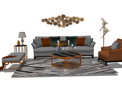 现代客厅沙发茶几组合SU模型SU模型下载【ID:728760674】