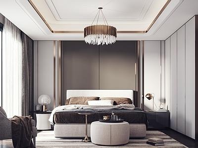 现代卧室3D模型【ID:434538360】