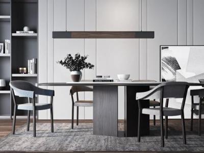 现代实木餐桌椅组合3d模型下载【ID:131784807】
