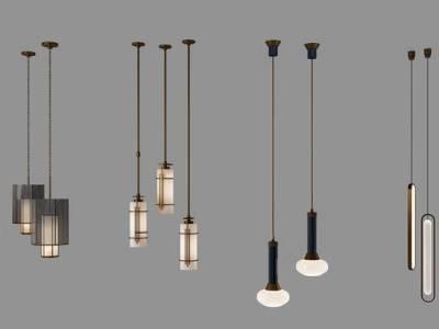 现代简约金属小吊灯组合3D模型【ID:55476788】