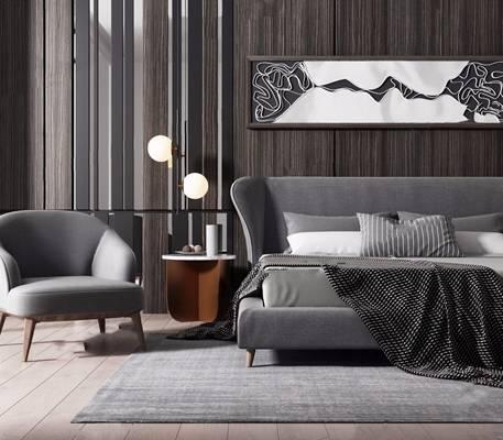 现代床具椅子组合3d模型下载【ID:76343403】