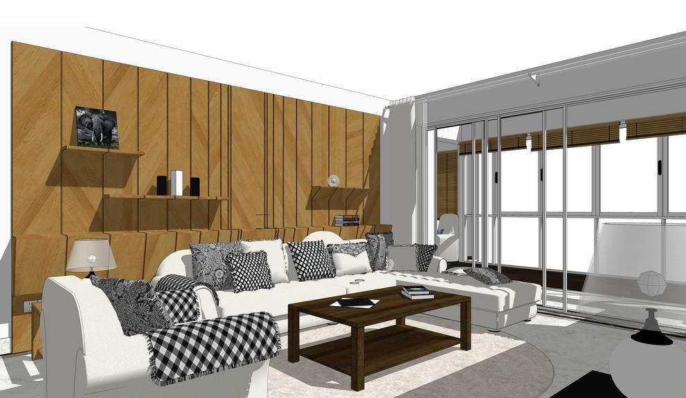现代风格三房两厅室内设计SU模型SU模型下载【ID:920573855】