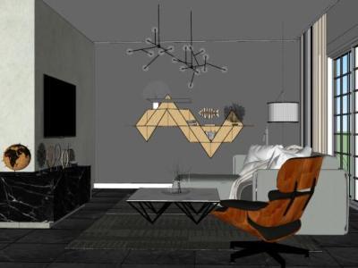 现代客厅沙发组合SU模型下载【ID:926015889】