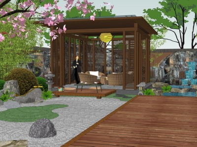 日式庭院景观SU模型SU模型下载【ID:523145951】