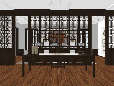 中式书房室内设计SU模型