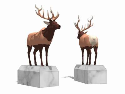 鹿雕塑SU模型SU模型下载【ID:632279648】