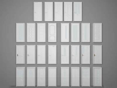 简欧白色单开门组合3D模型【ID:76198059】