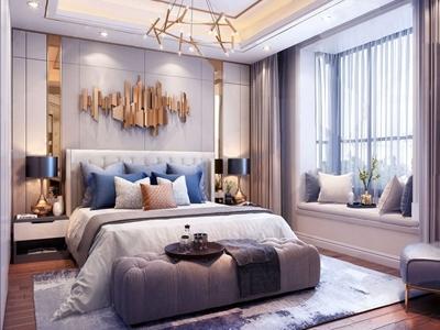 现代轻奢卧室3D模型【ID:130530335】