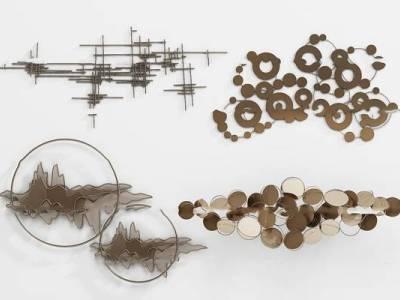 新中式金属墙饰挂件组合3D模型