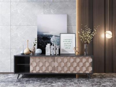 现代简约实木电视柜摆件组合 北欧电视柜 摆件 装饰画 装饰品 花瓶