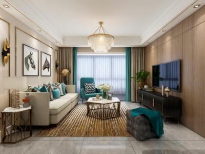 现代客餐厅 后现代沙发组合 金属茶几 金属吊灯 餐桌椅组合 现代挂画 壁灯