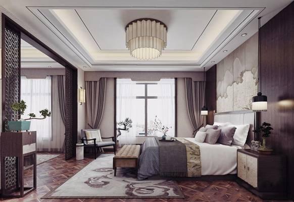 新中式卧室书房3d模型下载【ID:46268037】