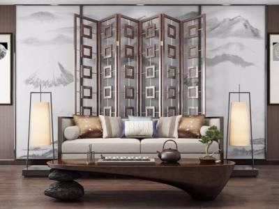 新中式沙发组合3D模型【ID:15433409】