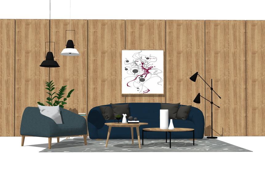 北欧风格客厅沙发茶几组合SU模型SU模型下载【ID:722238664】