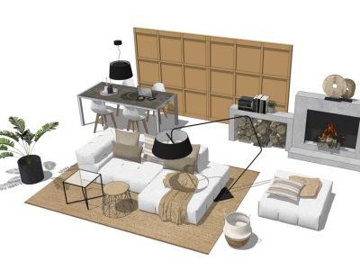 现代客厅沙发茶几壁炉餐桌组合SU模型SU模型下载【ID:726373679】