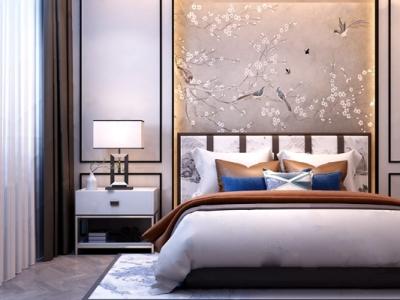 新中式双人床床具卧室 新中式双人床 床头柜 台灯 新中式卧室 床具 床 双人床 床背板