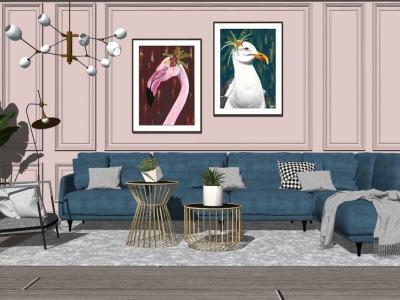 北欧客厅沙发茶几吊灯组合SU模型SU模型下载【ID:730331682】