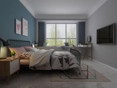 北欧简约北欧卧室 床 斗柜 梳妆台