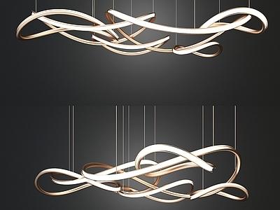 现代金属艺术吊灯3D模型【ID:533312824】