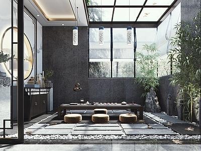 新中式茶室花园3d模型下载【ID:933426294】