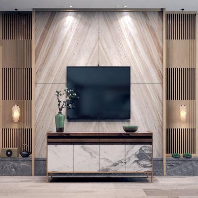 新中式电视柜背景墙组合 新中式电视柜 格栅屏风 吊灯 花艺 电视机 电视背景墙 饰品摆件