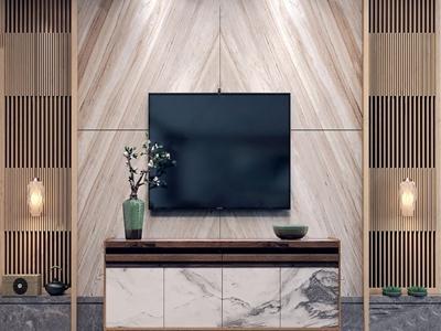 新中式电视柜背景墙组合3D模型【ID:922159061】