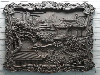 山水石雕3D模型【ID:434907923】
