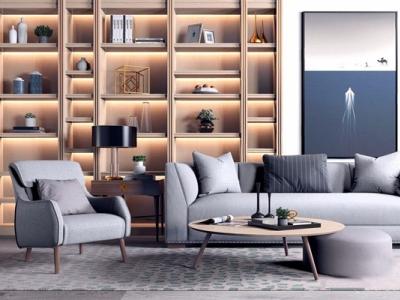 现代沙发茶几组合3D模型【ID:120137046】