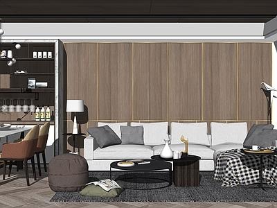 现代简约北欧客餐厅沙发SU模型