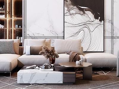 现代简约轻奢沙发茶几组合3d模型下载【ID:334204362】